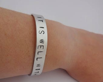 hand stamped cuff,skinny bracelet,stackable bracelet,statement cuff,inspirational bracelet,quote bracelet,customisable cuff,christian cuff
