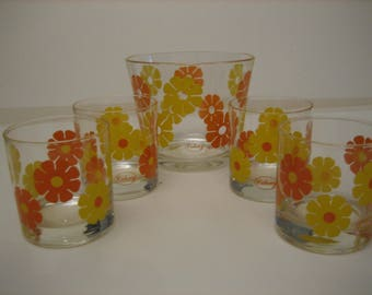 Orange and Yellow Colony Glass Retro Ice Bucket and Glass Set