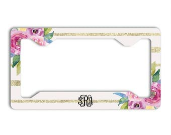 Monogram gifts for her, Pink auto decor, Floral license plate cover or frame, Faux glitter gold and pink, Initials car tag, Stripes (1738)