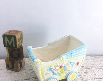 SUMMER SALE Vintage Ceramic Baby Boy Planter
