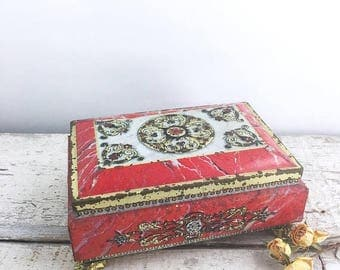 SUMMER SALE Vintage Red and Gold Fricke and Nacke Lidded Tin Box
