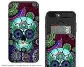 Purple Sugar Skull iPhone 7 Plus - 8 Plus Card Holder Case - Dia De Los Muertos - Credit Card Apple iPhone 8 Plus Wallet Case