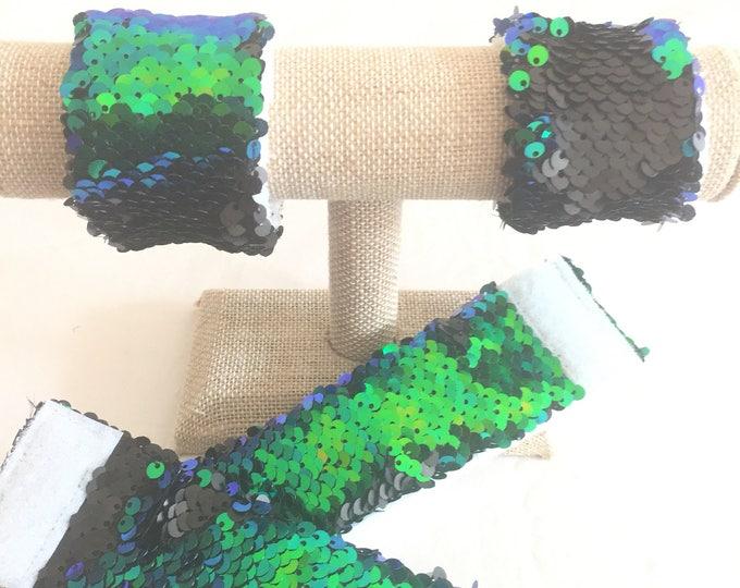 Sequin Mermaid Bracelet, Sensory Tool, Green/Blue and Black Double sided sequin, School Spirit Accessory, Calming bracelet, Kids bracelet