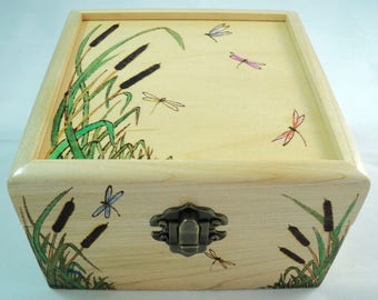 Solid Maple Wood, Woodburned Cattails and Dragonflies Jewelry Box, Keepsake Box, Memory Box