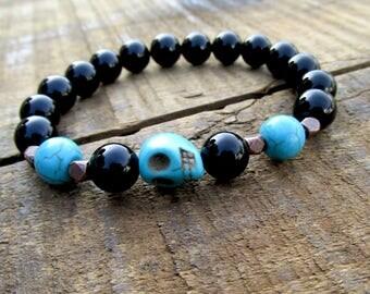 Black Onyx Men's Skull Bracelet - Men's Bracelet - Men's Jewelry - Beaded Mens Bracelet - Skull Jewelry - Skull Bracelet - M1481