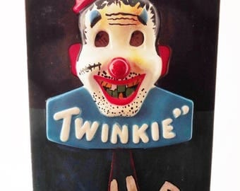 ON SALE Vintage, Twinkie Club, Twinkie The Clown, Scary, Sign, Advertisement, Motion Sign, 1950's