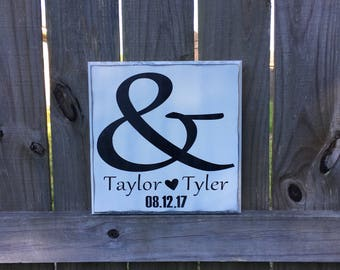 Custom Wood Sign, Personalized Wedding Sign, Wedding Gift, Engagement Gift, Anniversary Sign, 5th Anniversary Gift, Gift for Bride & Groom