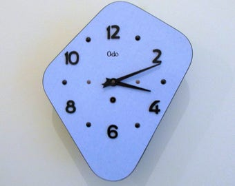 French 1950s Pale Blue Atomic Age ODO Formica Wall Clock - Blue Formica Vintage Clock - Good Working Condition
