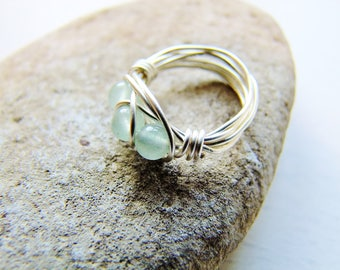 Green Ring, Wire Wrap Ring, Stackable Ring, Gemstone Ring, Silver Ring, Dainty Ring, Ring, Gift For Her, Boho Ring, One Of A Kind, OOAK