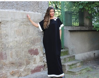 SALE ON 20 % OFF Black and white caftan , maxi dress , abaya dress , long dress , evening dress, party dress