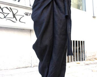 SALE Loose Linen Black Pants / Wide Leg Pants Autumn Extravagant Collection A05034