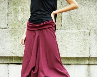 SALE NEW   BURGUNDY  Linen Maxi Skirt /  Extravagant Long  Skirt / Stripe less Spring /Summer Dress A09118