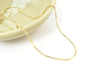 18 Inch Gold Ball and Bar Link Chain, Short 18 In Gold Necklace Chain |NB2-28