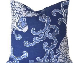 Pillow Covers ANY SIZE Decorative Pillow Cover Blue Pillow Fish Pillow Koi Fish Pisces Aegean