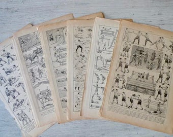 Vintage Book Pages Sport Theme Bundle, Illustrated Dictionary Pages, 1920s French Ephemera Pack, Scrapbooking, DIY Supply, Paper Pack