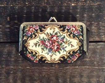 1960's Floral Purse with Mirror