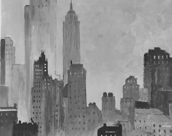Acrylic painting NYC in Fog (Nr. 174)
