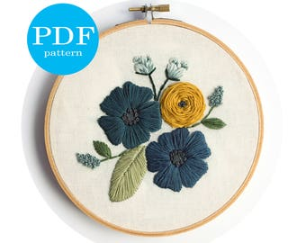 Blue Flowers Embroidery Pattern // PDF Digital Download // Stitch Guide, beginner, intermediate, advanced // floral, flowers