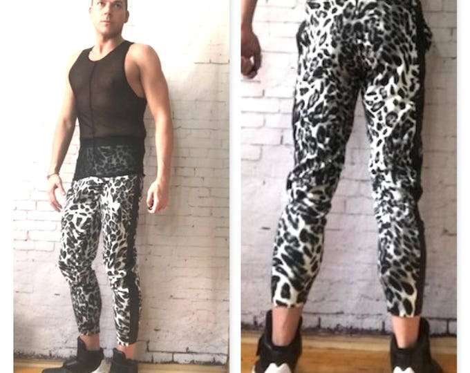 Printed Grey/White  Cheetah  Faux Leather Tuxedo Strip Jogger Inspired By Versace Balmain GUCCI