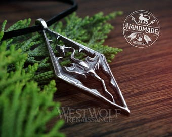 Skyrim Dragon Pendant - 925 Sterling Silver --- Viking/Norse/Nord/North/Elder Scrolls/Necklace Jewelry