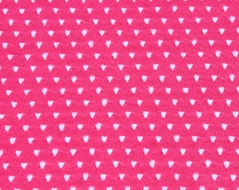 Vintage Small Print White Dots on Hot Pink Tubular T-shirt Knit Jersey Fabric by The ,  Retro Mod Stretchy Sewing Fabric, 1 1/2 yard plus