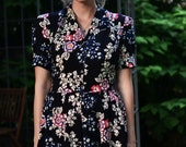 Noir 1940's Dress / Summer Dresses for women / Woman's Summer Dress / Retro Dress / Vintage Dress / Long Dress / Floral Rayon Dress / Black