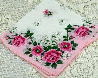 Beautiful Vintage Hankie, Two Pinks on White  #R-6
