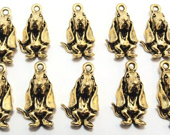 10 Gold Tone Pewter Basset Hound Charms- 1753