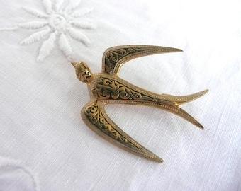 Vintage swallow brooch - damascene bird brooch - mid century bird brooch - mid century damascene swallow brooch