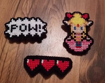 Cross Stitched Hair Pins