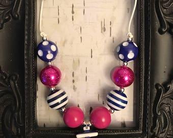 Anchor adjustable bubblegum chunky tassel necklace