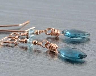 London Blue Topaz and Aquamarine Earrings, Rose Gold Jewelry, Blue Topaz, Handmade, Blue Marquise, Birthstone Earrings