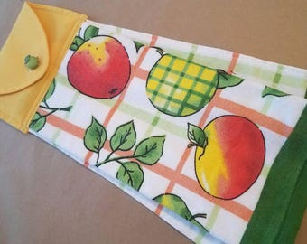 Apple Hanging Kitchen Towel, Summer Button Top Dish Towel, Plaid, Sherbet Orange, Yellow Green, Fall, Housewarming Gift, Kitchen Linens