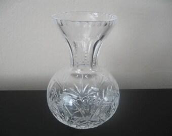 Vintage Crystal Bud Vase With Detailed Design