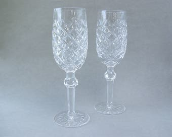 """Waterford Powerscourt Crystal Champagne Flutes.  One Pair.  8 1/8"""" Tall X 2 1/8"""" Diameter.  Original Boxes Included."""