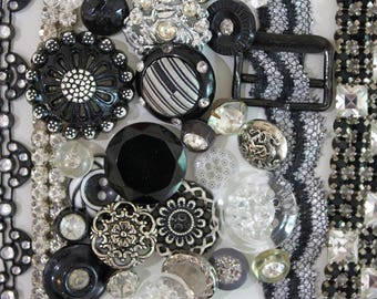 Ooh La La*Black and Silver Button Lot*Silver and Black Buttons Trims Pack*28 Buttons 4 Trims