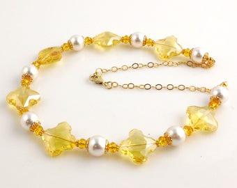Bold Elegant Yellow and White Crystal Special Occasion Necklace, Beaded Necklace, Adjustable Necklace, Gifts