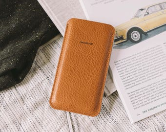 "iPhone 7 Case, iPhone 7 Pouch, iPhone 7 Sleeve, leather, wool felt, ""Dandy""•"