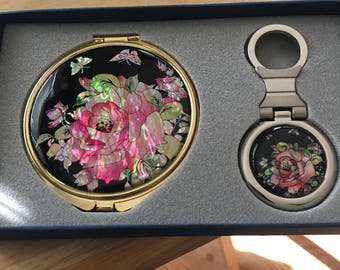 Vintage Korean  compact and matching key fob...free shipping !!