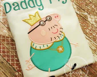 Peppa Pig King Daddy Pig Family Birthday Embroidered Shirt - Customizable -  Adults 2 aqua