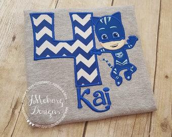CatBoy P J Masks Inspired Birthday Custom Tee Shirt - Customizable - 60b chev
