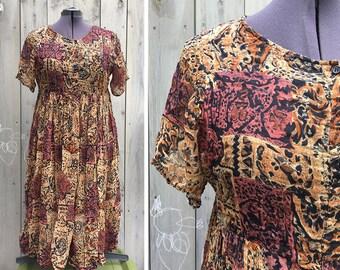 Vintage dress | 90s vintage animal print tribal jungle Indian cotton gauze plus size dress