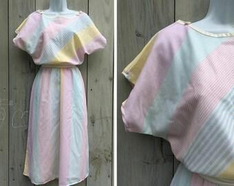 Vintage dress | 1980s pastel bias stripe You Babes blousy pullover dress
