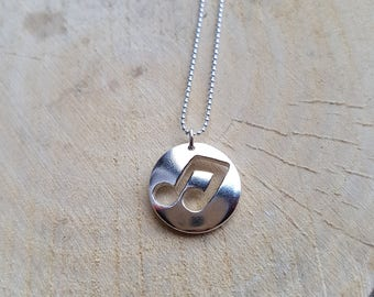Silver Music Note Necklace Sterling Silver Pendant Music Note Jewellery Mens Jewellery Graduation Gift Boyfriend Gift Music Lover Gift