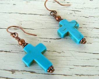 Turquoise Cross Earrings, Rustic Cross Dangles on Copper, Turquoise Howlite Earrings, Christian Southwestern Jewelry, Cowgirl Earrings