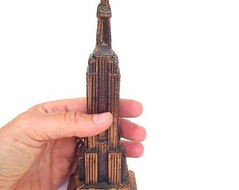 Vintage Empire State Building New York City Travel Souvenir Cast Metal Statue Copper Toned
