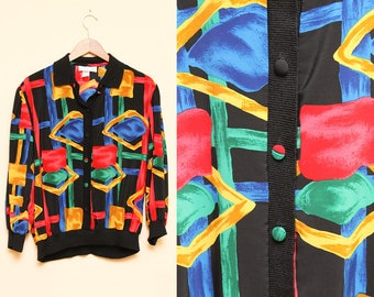 Bold Print Blouse // Silky Loose Fit Top // 1980s Colorful Geometric Striped Collared Button Down Puffy Sleeve Size Large