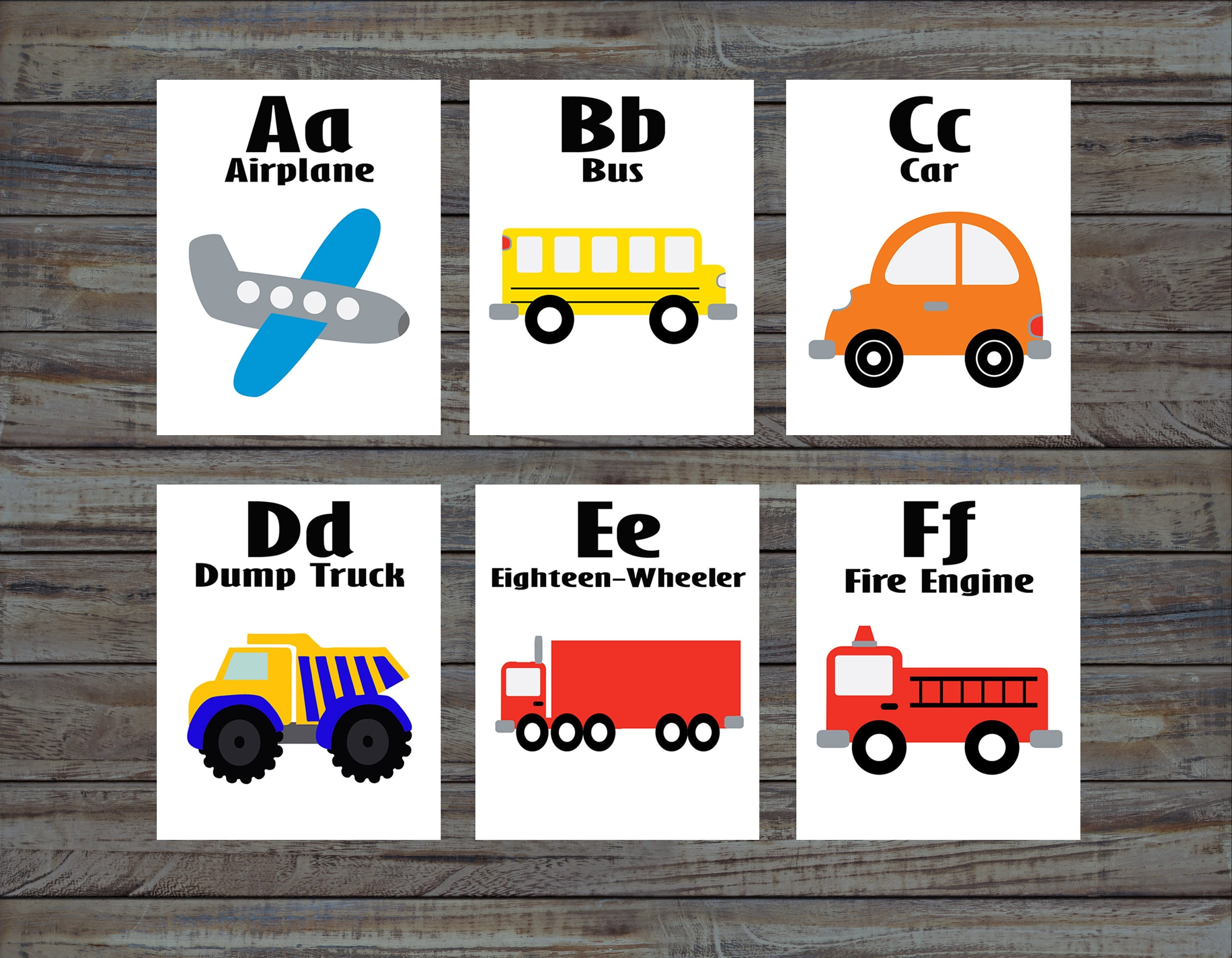 Flash Cards Transportation Alphabet Cards Learning Toys
