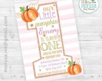 Our Little pumpkin is turning one, first birthday, halloween printable invitation, no instant dowload file.