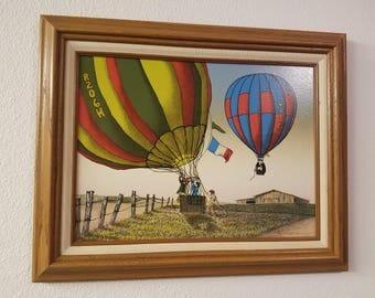 """H. Hargrove Hot Air Balloon Original Oil Painting 17""""x19"""""""